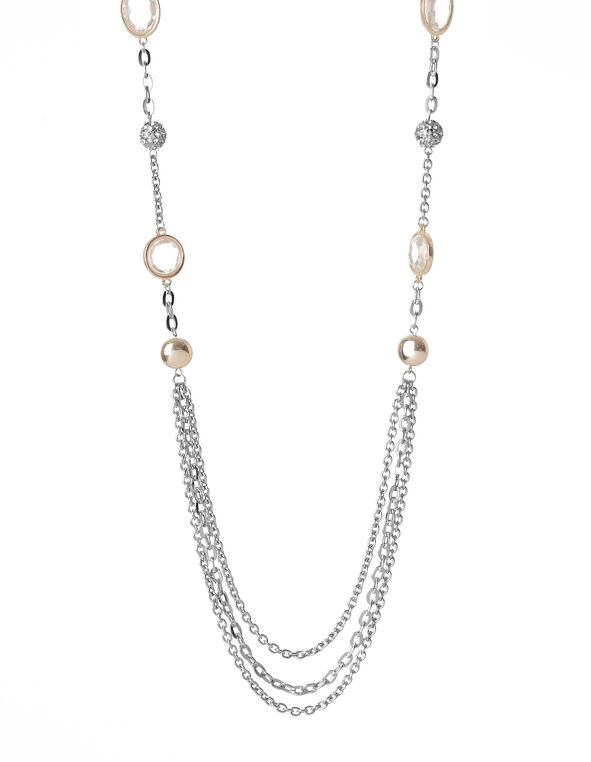 Two-Tone Fireball Necklace, Rhodium/Gold, hi-res