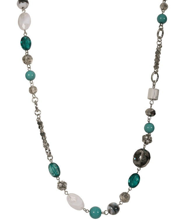 Stationed Bead Necklace Set, Tropical Teal/Rhodium, hi-res
