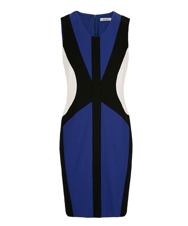 Colourblock Sheath Dress, Black/Cobalt/Milkshake, hi-res