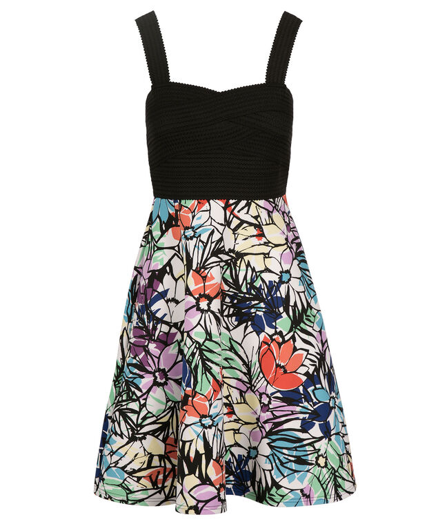 Banded Scuba Skirt Dress, Black Print, hi-res