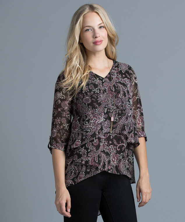 Layered Hem Blouse, Pink Quartz Print, hi-res