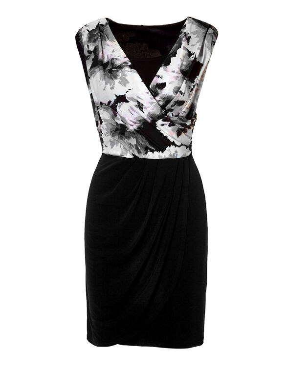 Pink Floral Wrap Shift Dress, Black/Dusty Pink/Grey/White, hi-res