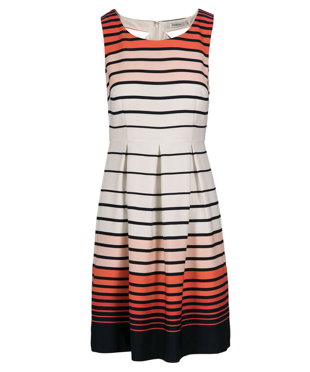 Striped Fit & Flare Dress, White/Orange Print, hi-res