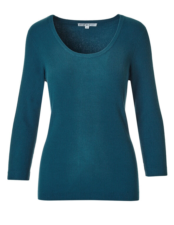 Turquoise Ribbed Pullover Sweater, Dark Turquoise, hi-res