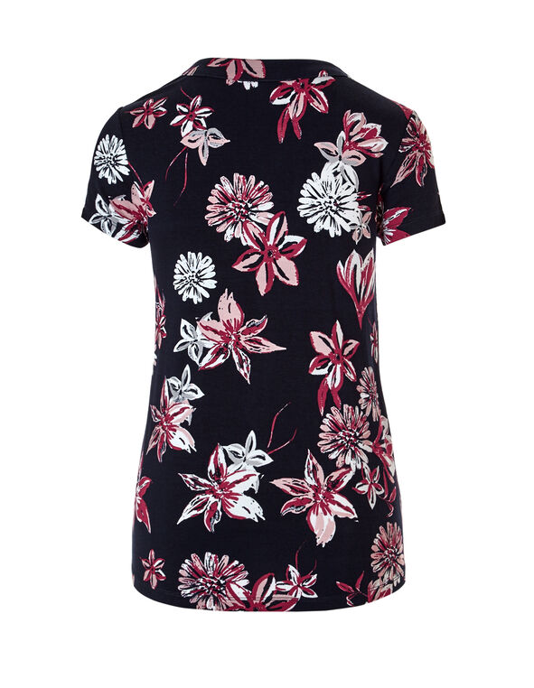 Floral Split V-Neck Tee, Navy/Clay/Soft Pink/White, hi-res