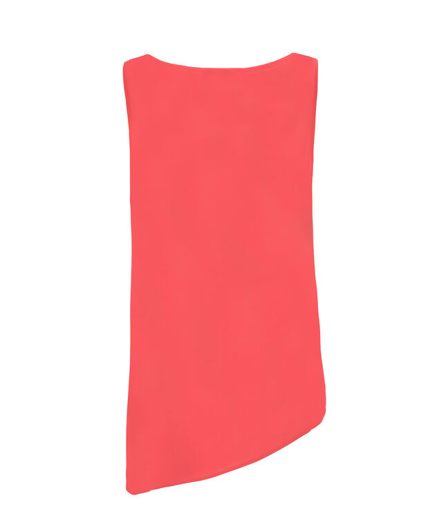 Asymmetrical Colourblock Blouse, Coral/Black, hi-res
