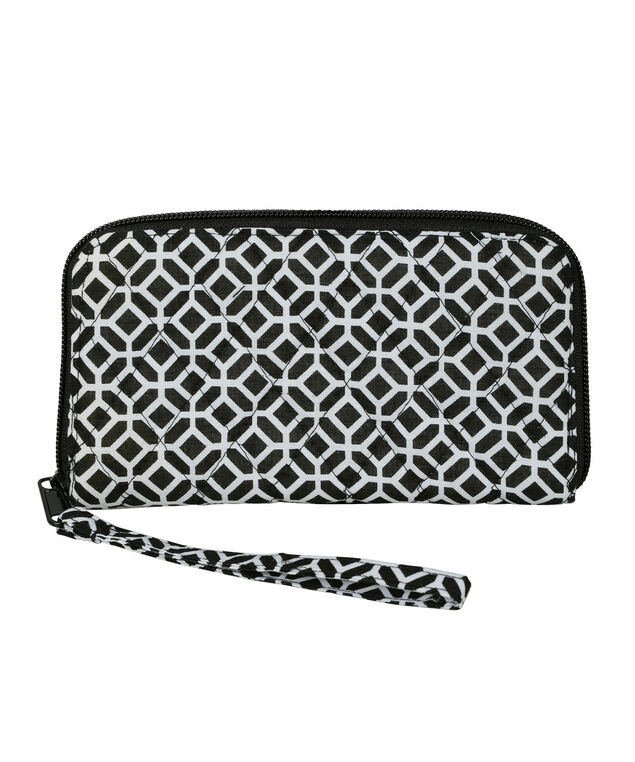 Quilted Medallion Wallet, White/Black, hi-res