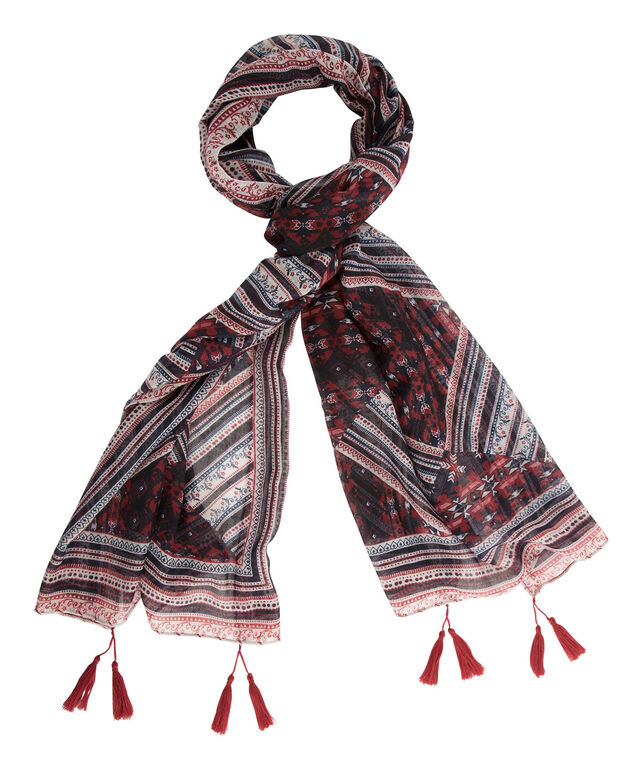 Patchwork Print Tassel Scarf, Deep Red/Blue, hi-res