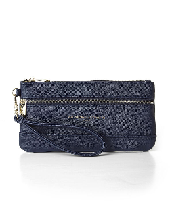 Navy Saffiano Leather Wristlet, Navy/Gold, hi-res