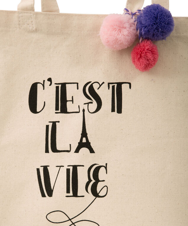 Cest La Vie Reusable Tote Bag, Neutral, hi-res