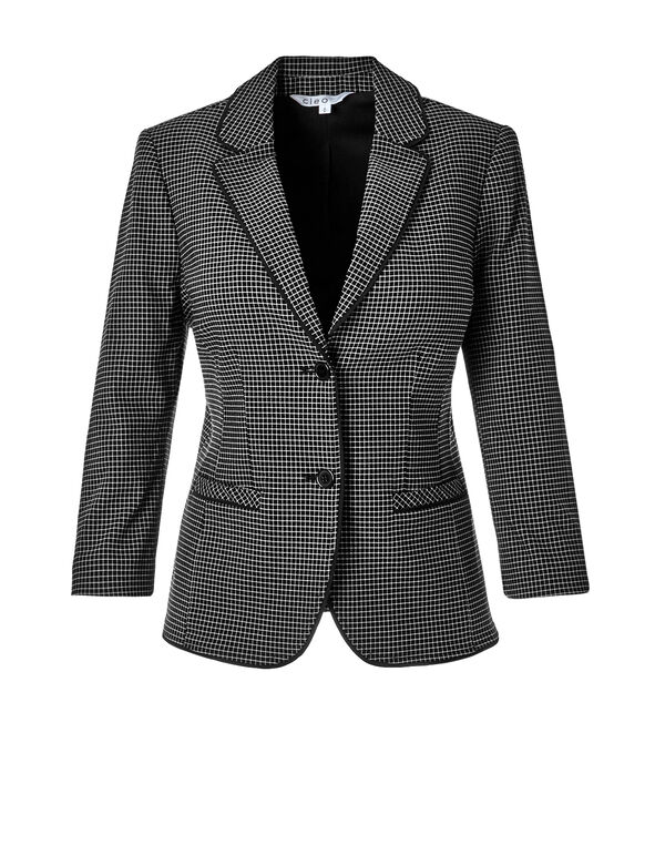 Windowpane Suiting Blazer, Black/Ivory, hi-res