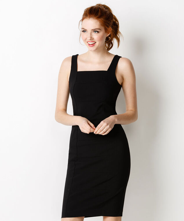 Banded Microtwill Dress, Solid Black, hi-res