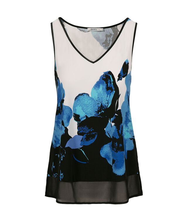 Chiffon Trim High Low Tank, Black Print, hi-res