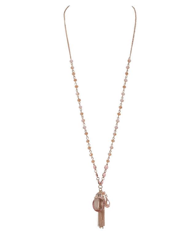 Tassel Pendant Necklace, Pink/Rose Gold, hi-res