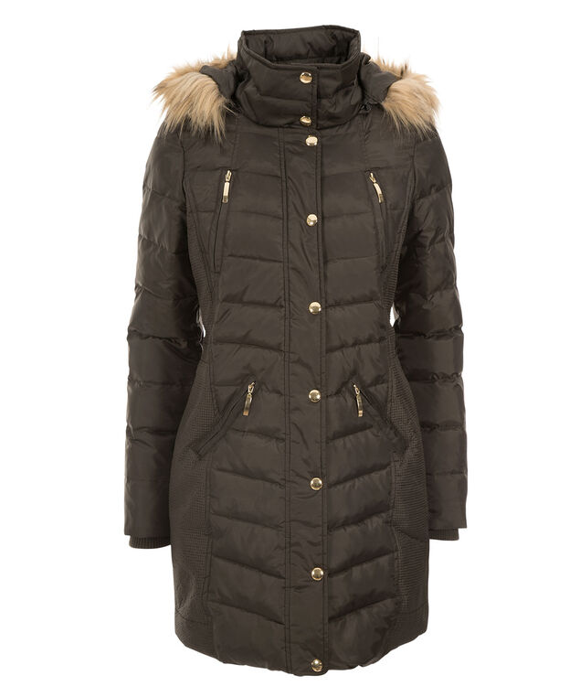 Side Ruched Puffer Coat, Dark Olive, hi-res