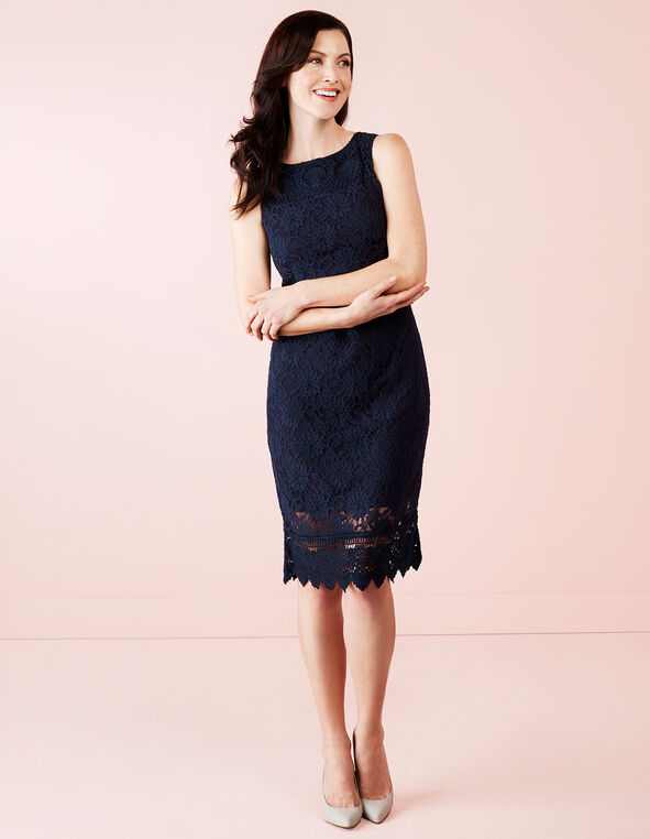 Navy Lace Shift Dress, Navy, hi-res