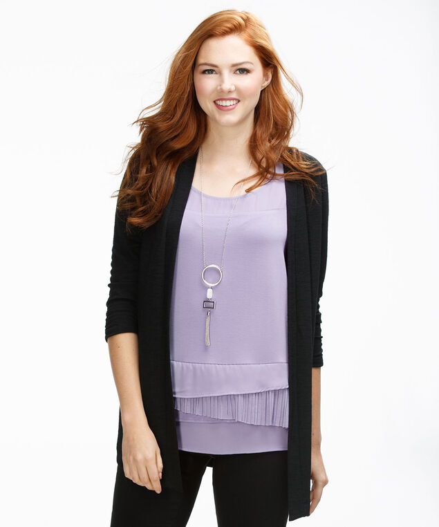 Layered Pleat Hem Tank, Mauve, hi-res