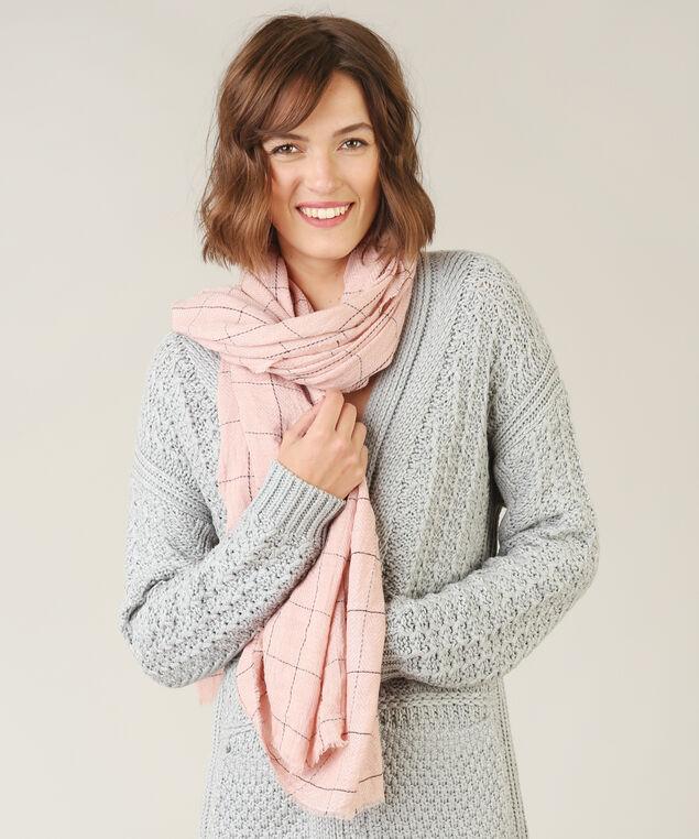 grid print oblong scarf, PINK, hi-res