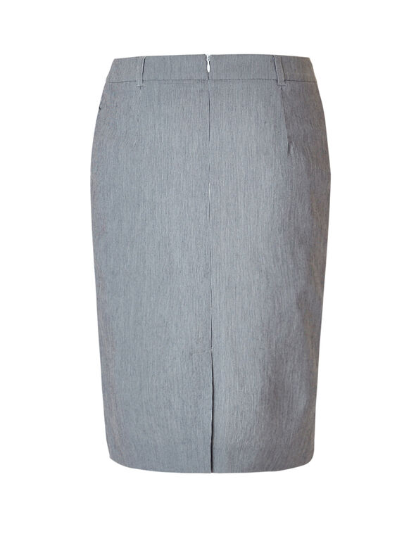 Seersucker Pencil Skirt, Navy/White, hi-res