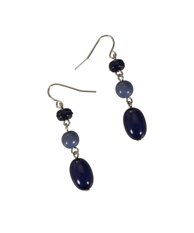 Stationed Bead Earring, Light Blue/Blue/Burnished Silver, hi-res
