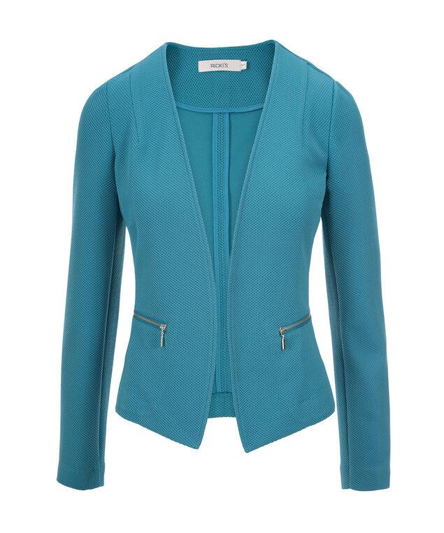 Textured Open Blazer, Turquoise, hi-res
