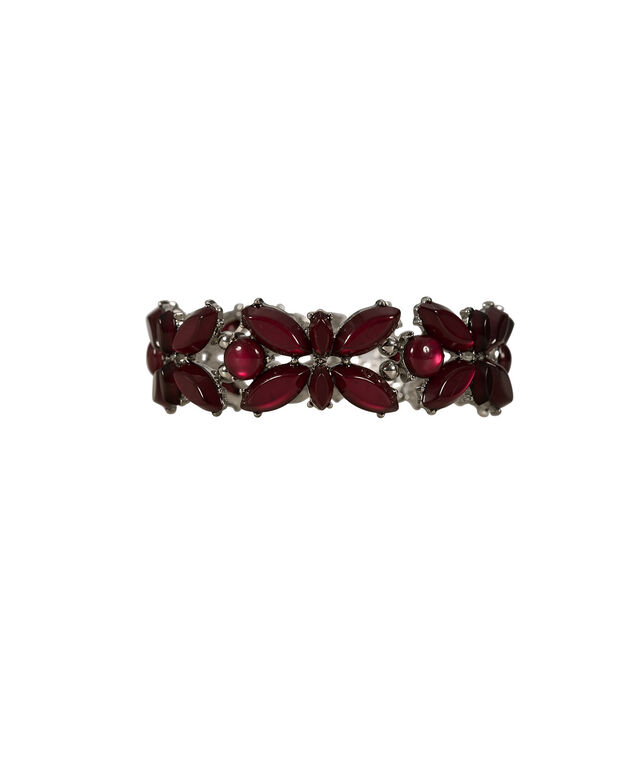 Teardrop Stone Stretch Bracelet, Burgundy/Rhodium, hi-res