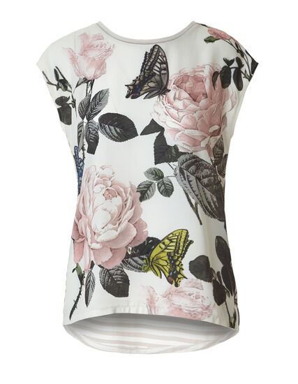 Floral Stripe Print Top, Ivory/Soft Pink/Olive, hi-res