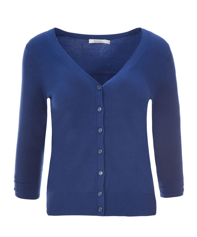 Ruched Sleeve Cardi, Sapphire, hi-res