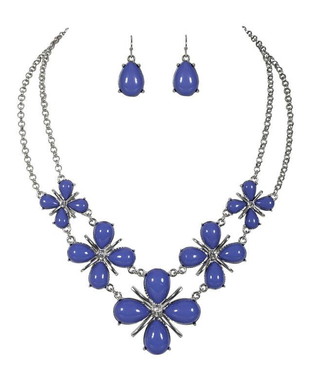 Tear Statement Necklace, Sapphire/Rhodium, hi-res
