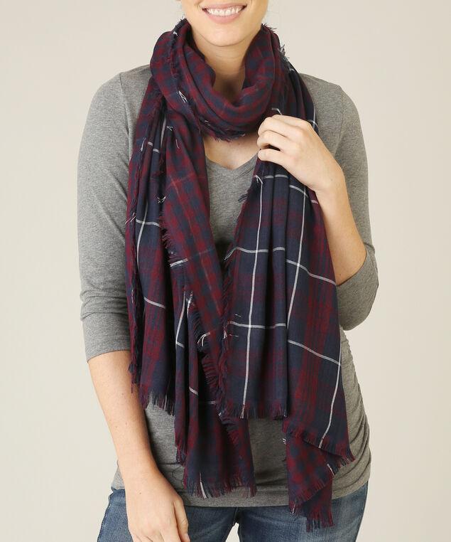 gingham print scarf, NAVY/MAROON, hi-res