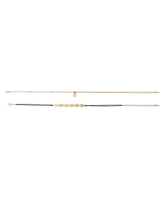 2 piece plated choker set, BLACK/GOLD, hi-res