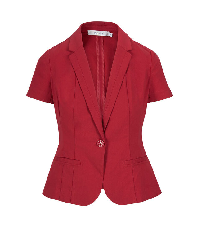 Short Sleeve Blazer, Poppy Red, hi-res