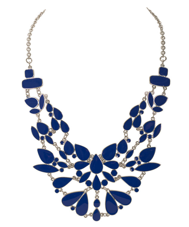 Epoxy Tears Statement Necklace, Sapphire/Rhodium, hi-res