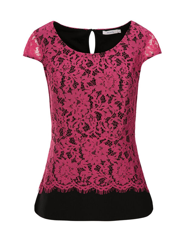 Pink Crochet Peplum, Vibrant Pink/Black, hi-res