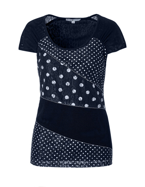 Navy Polkadot Mixed Lace Top, Navy/White, hi-res