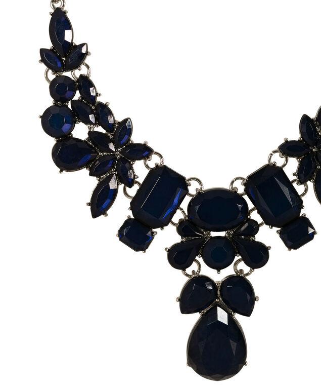 Faceted Stone Statement Necklace, Deep Blue/Rhodium, hi-res