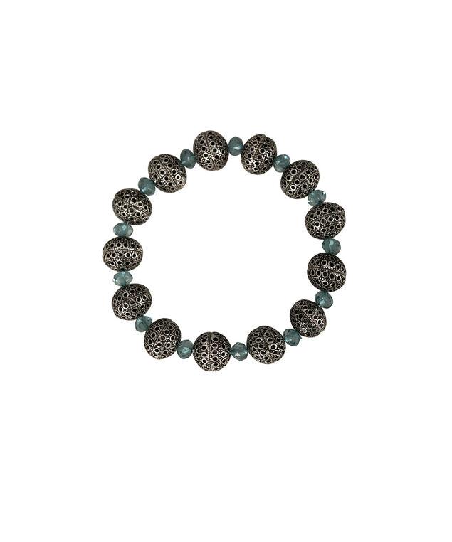 Filigree Bead Stone Bracelet, Teal/Burnished Silver, hi-res