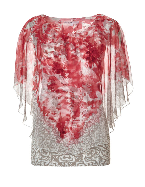 Coral Floral Caftan Blouse, Coral/Ivory/Stone, hi-res