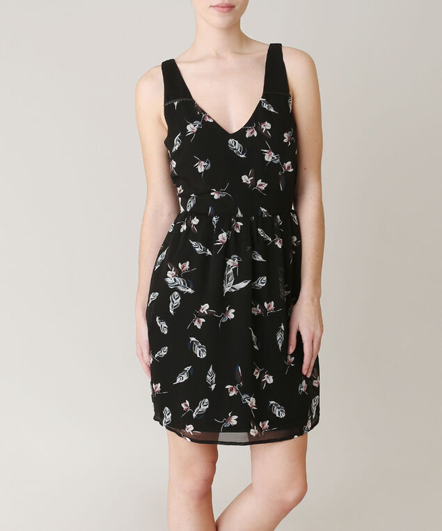 feather print dress, FEATHER, hi-res
