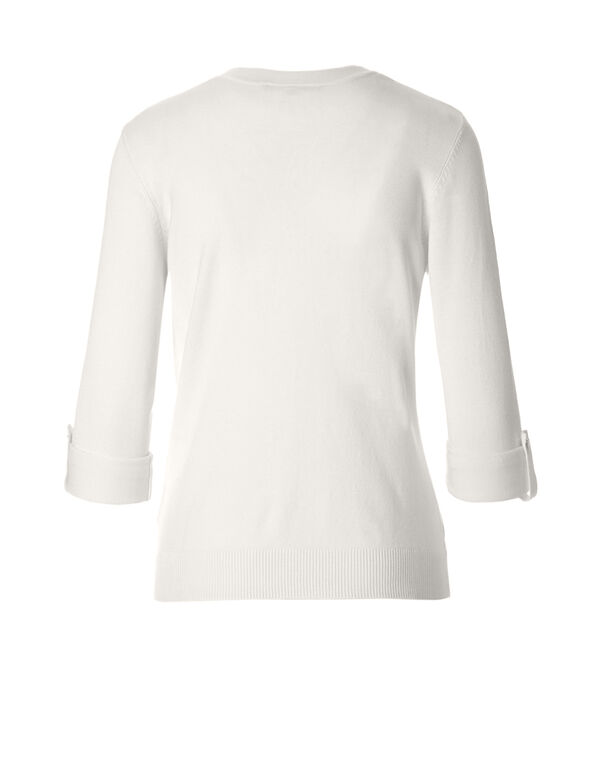 Ivory Roll Up Sleeves Sweater Topper, Ivory, hi-res