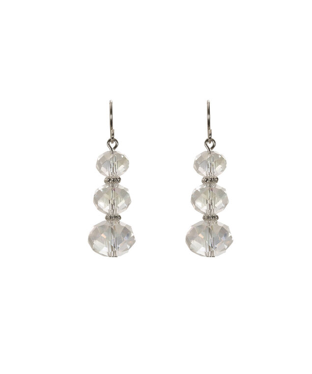 Faceted Stone Earring, Rhodium, hi-res