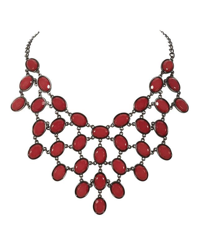 Crimson Statement Necklace, Crimson/Hematite, hi-res