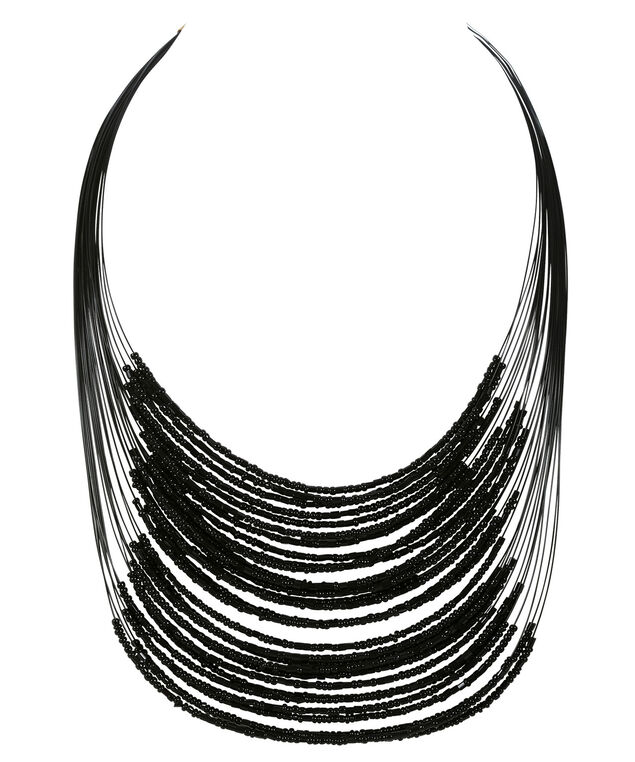 Seed Bead Necklace, Jet Black, hi-res