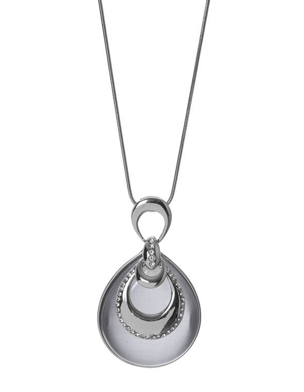 Grey Crystal Cat Eye Necklace, Silver/Grey, hi-res