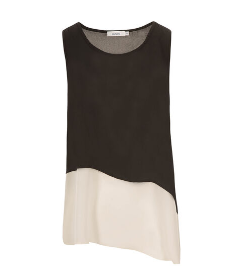 Asymmetrical Colourblock Blouse, Black/Ivory, hi-res