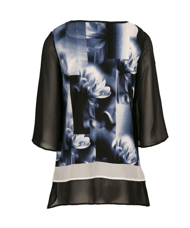Bell Sleeve Tunic, Purple Print, hi-res