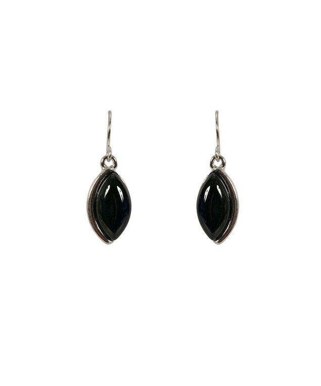 Tear Cateye Earring, Black/Rhodium, hi-res
