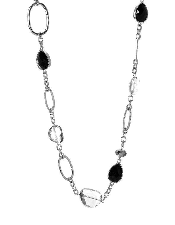 Long Teardrop Necklace, Black, hi-res