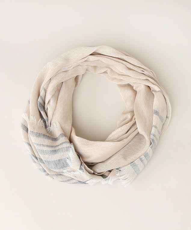 stripe oblong scarf, BEIGE/BLUE, hi-res