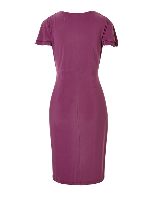 Magenta Flutter Sleeve Dress, Magenta, hi-res